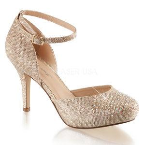Shoes - Rhinestone High Heel Ankle Strap Platform Shoes